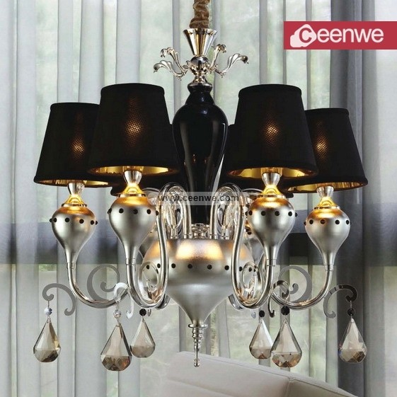 chandalier Fashion Modern Bed Room Silver black chandelier Cognac 6 Lights Metal Crystal chandelier istanbul