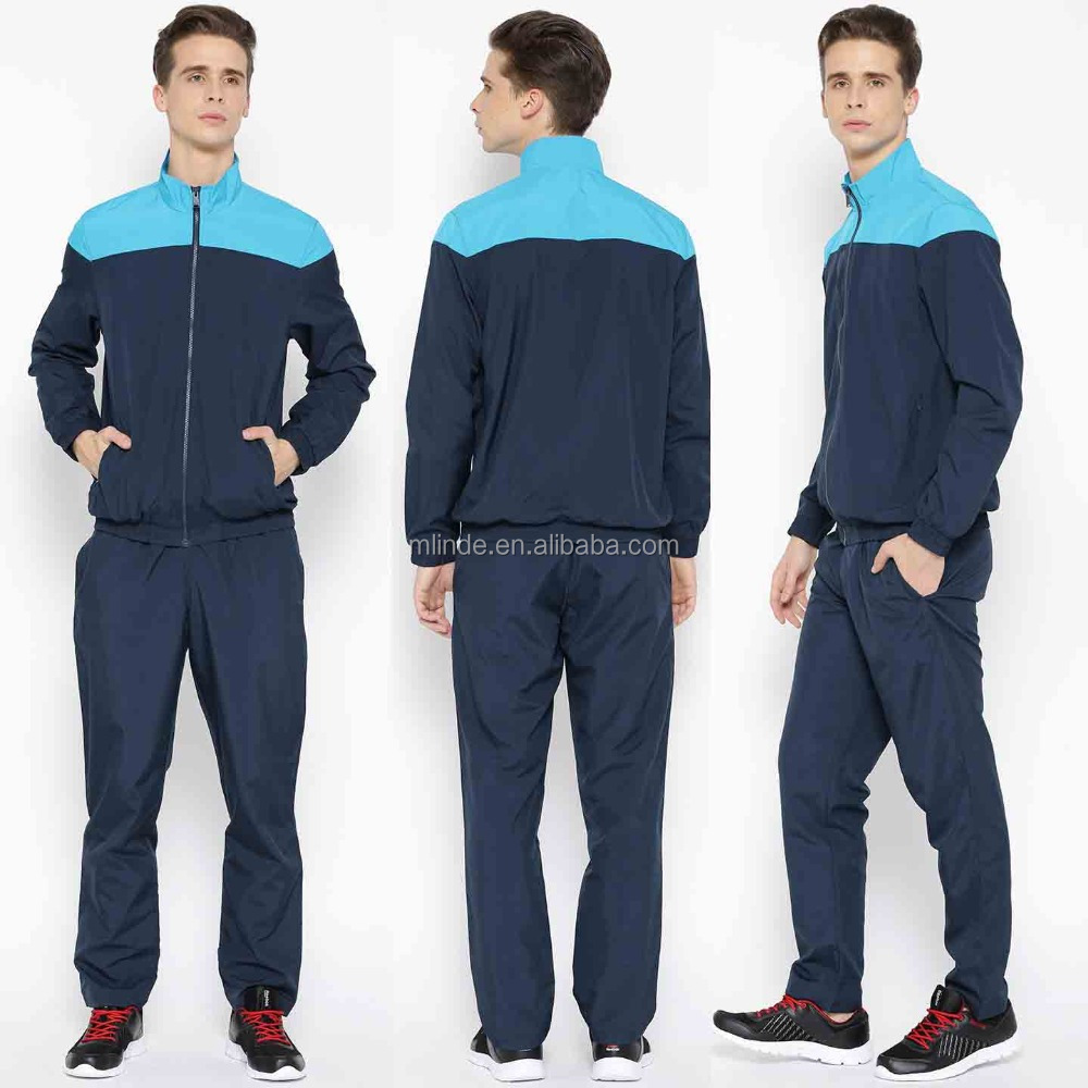 new fitted sports wear working out Navy Polyester Training set outfit Tracksuit designs men sky blue for man slim fit