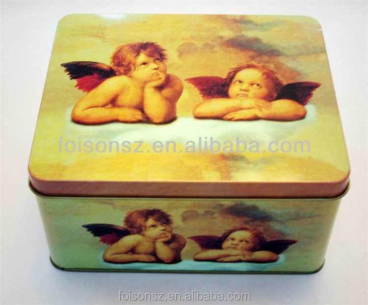 wholesale rectangular tin case for biscuit and cake