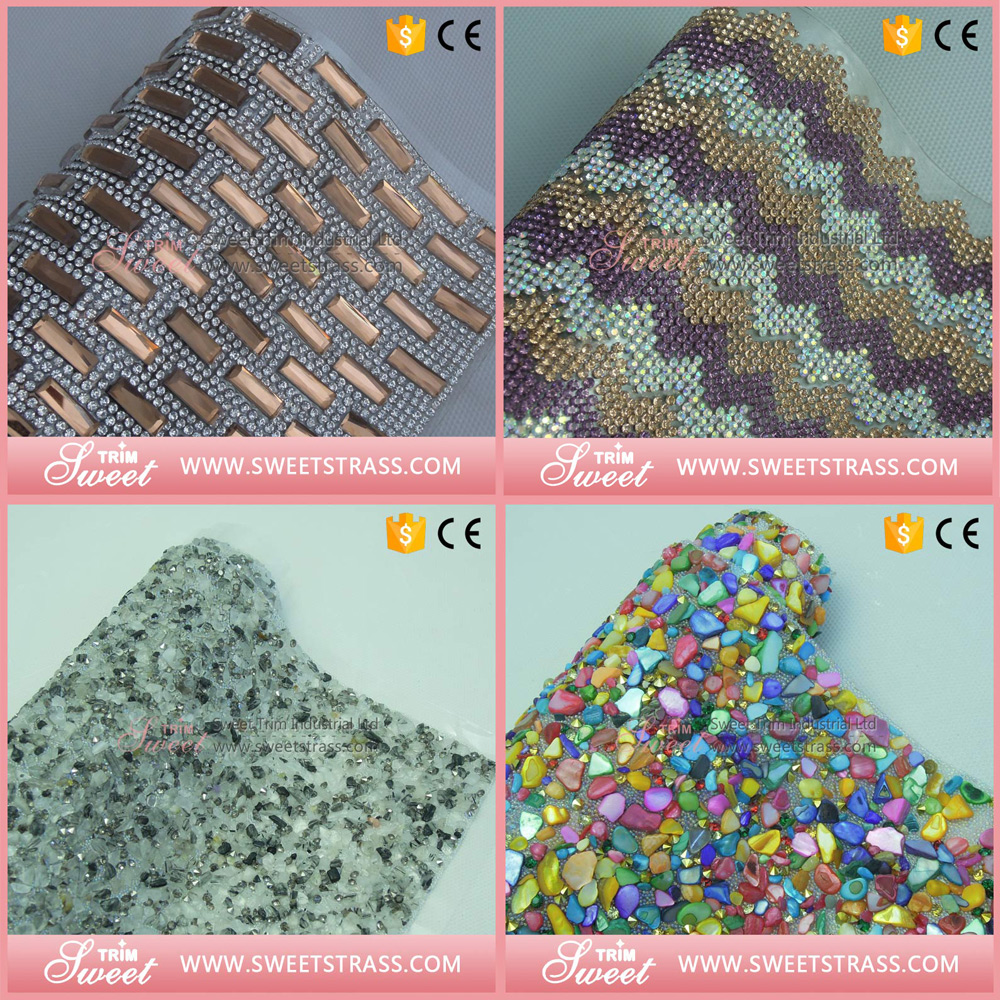 Factory outlet 24*40CM hot fix adhesive crystal rhinestone sticker sheets