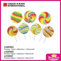 LANTOS BRAND 80G ROUND HARD COLORFUL WAVE BOARD LOLLIPOP CANDY
