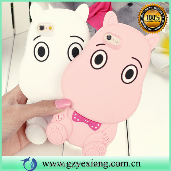 New arrival cute animal shape silicone hippo phone case for iphone 5s silicone phone cover