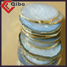 white AGATE COASTER natural agate slice wholesale for Home Decoration
