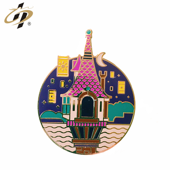Custom your own high-end hard enamel castle metal lapel pins with gold plating