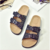 A66 Glitter sandals 2018 New Summer Beach Cork Slippers Casual Double Buckle Clogs Slides Women Slip on Flip Flop Shoe Plus Size