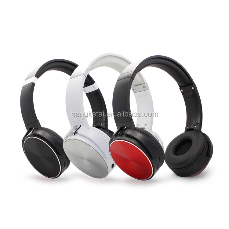 Promotional bluetooth headset wirelesss with volume control and metal part,stereo sound dj wireless headphones for markets