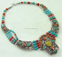 Handmade TURQUOISE CORAL Necklace, Tibetan Silver Jewelry