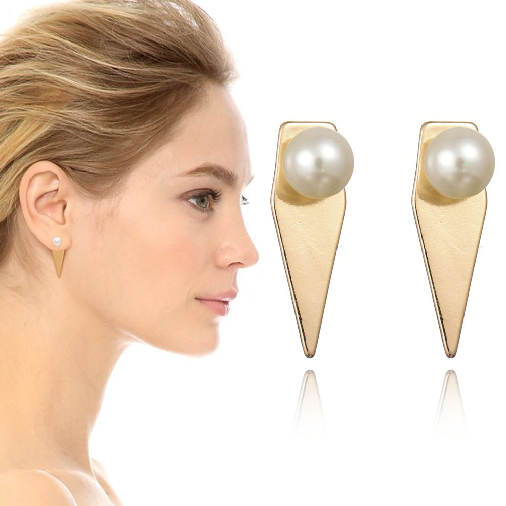 2017 Euro Big Brand <strong>18</strong> <strong>K</strong> <strong>Gold</strong> Plated Women Pearl Stud Earring