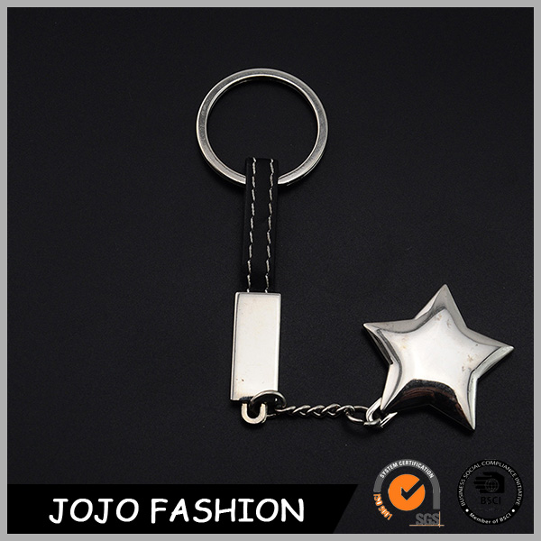 Metal key ring with alloy lucky star and leather lanyard keychain