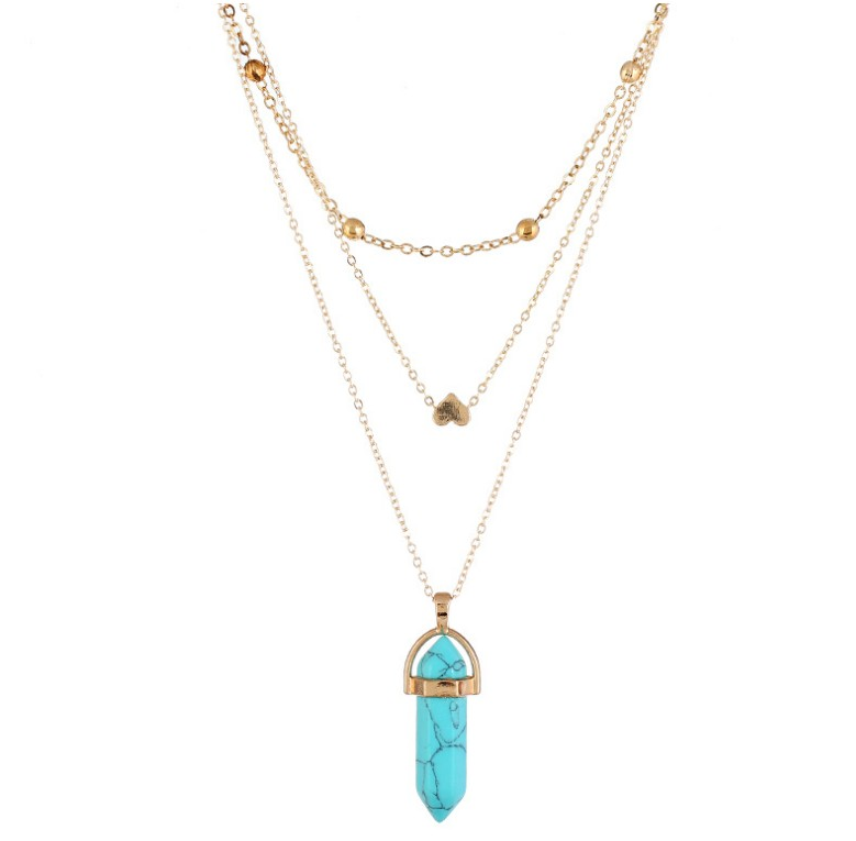 Fashion Triple Layers Long Necklace with Crystal Quartz Pendant Women Boho Layered Jewelry