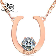 Rose Gold Plated Stainless Steel with AAA CZ stone Inlayed Ladies Necklaces for Women
