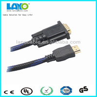 1.8M Gilded HDTV HDMI to VGA Adapter Cable For PC TV