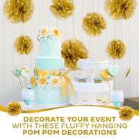 Size 8 10 Inch 10pc Gold Metallic Tissue paper pom poms, baby shower supplies