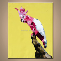 100%hand-paint Abstract A parrot standing on a branch Wall Art for Home Decoration on canvas oil painting