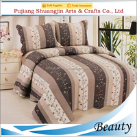 Factory wholesales poly/cotton material 3pcs bedspread home,hotel use cotton quilt throw