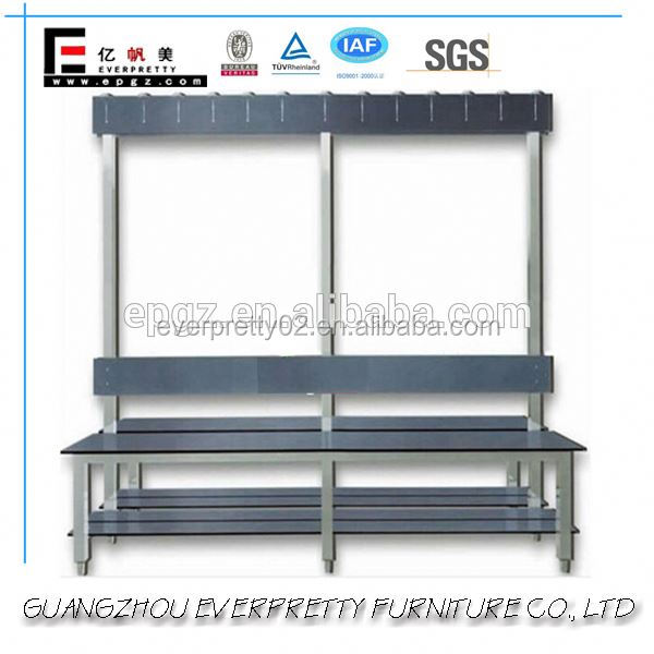 Modern Gym Hall Changing Room Sit up Wooden Bench with Clothes Hook