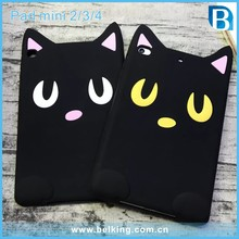 Lucky Moon Cat Silicone 3D Tablet Case For iPad Mini 2 3 4, For iPad Mini Cartoon Shockproof Case