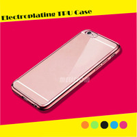 Ultra Thin Clear Crystal Rubber Plating TPU Soft Case Cover for iphone 6/ 6s/ 6 plus/ 6s plus/ 5s