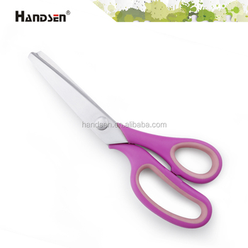 "9"" soft grip handle strong pinking scissors fabric scissors"