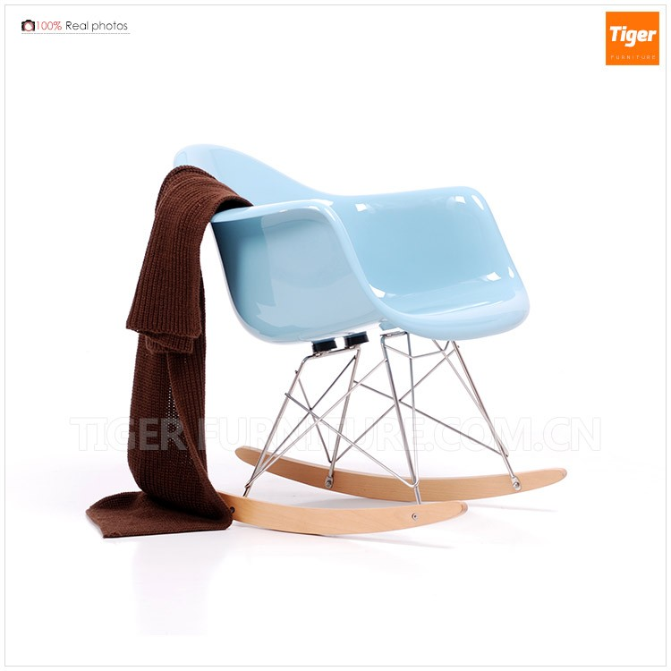 scandinavian shiny fiberglass rocking chair