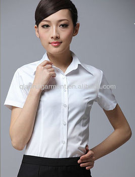 hot selling short sleeve slim office dress shirts for women/ladies with pointed collar