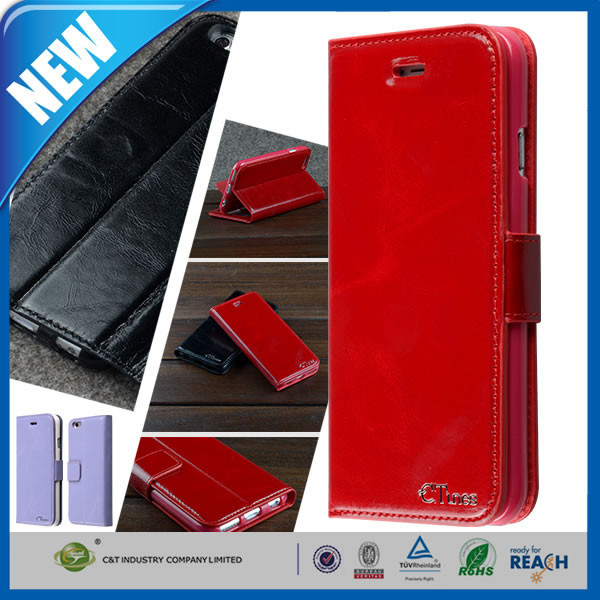 C&T leather cell phone case for iphone 4 ,for iphone4 phone case leather