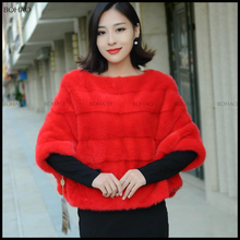latest design elegant style winter faux mink fur cape