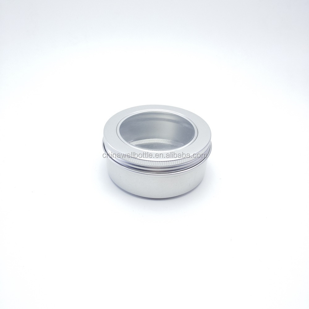 100g round metal tin cans with clear window for tea candy container cosmetic cream aluminum jar AJ-187L