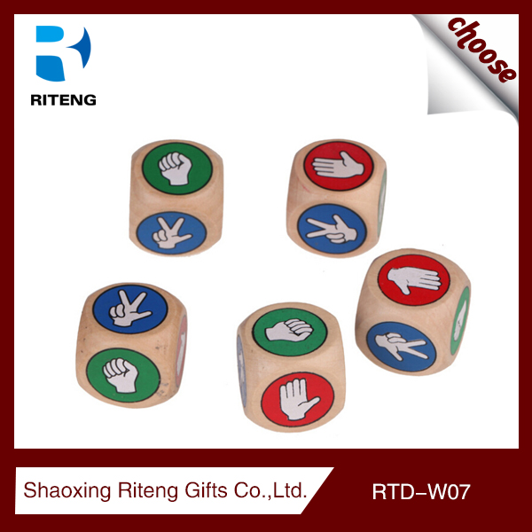 Promotional custom 6 sided wooden dice