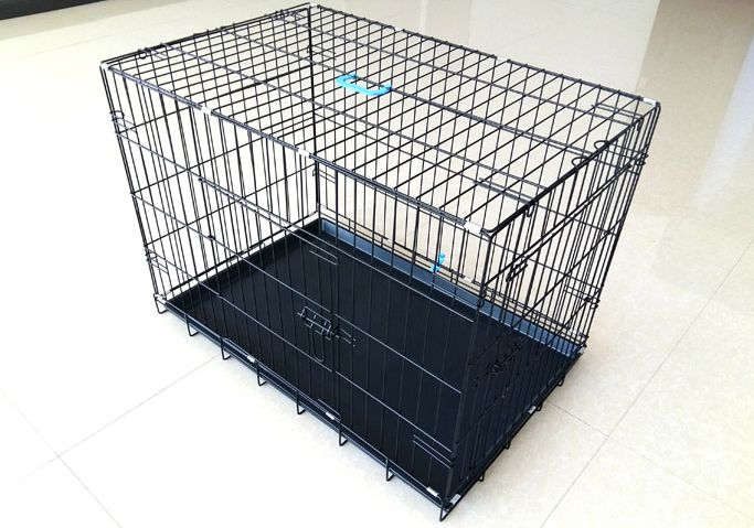 two doors folding wire dog crate wire pet dog cages