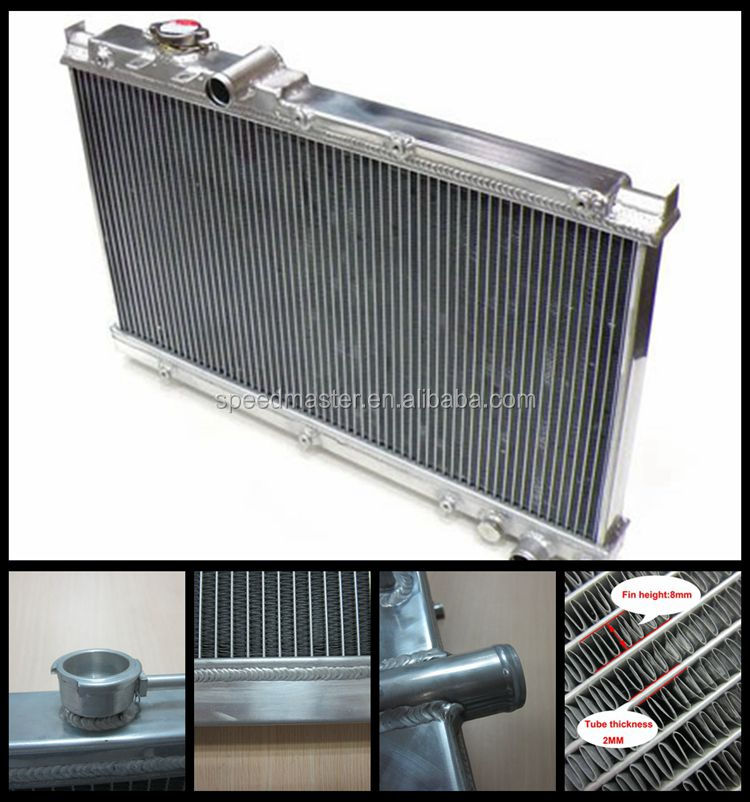 High performance 8mm fins 3 core all aluminum radiator for MITSUBISHI