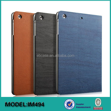 Wood Leather Flip Tablet Cover Case For Ipad Mini 4,For Ipad Mini 4 Stand Cover
