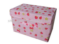 pink cute strawberry foldable non woven storage container with cover