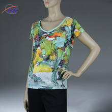 ArmyGreen color All Over Sublimation V Neck Printing T-shirt