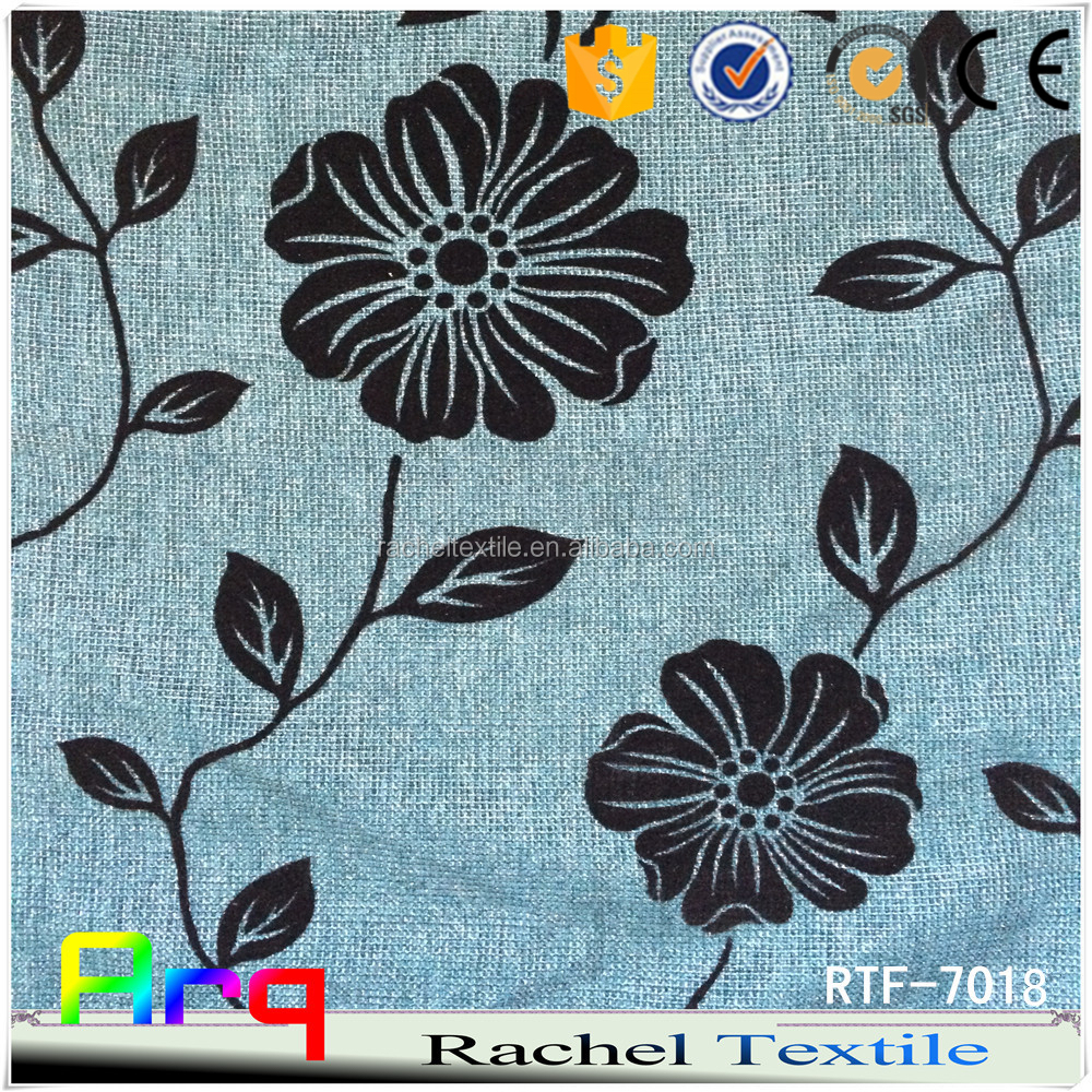 Middle east Flower pattern Linen/Cotton flocking fabric used for curtain sofa cushion material