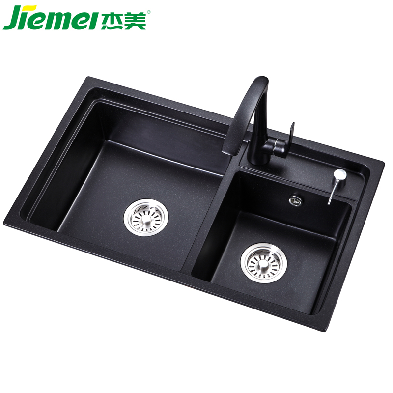 Promotional new arrival quartz stone rectangular kitchen sink with the double bowl