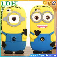 3D cute cartoon Soft Rubber silicon Despicable Me Yellow Minion Cover Case for iphone 4 4s 5 5s 6 6s Plus case