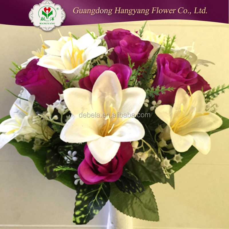Silk Artificial Flower Real touch Polyester Wire Plastic factory pu artificial flower for decoration