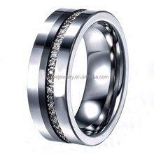Luxury Men Finger Ring CNC Channel Setting CZ Stones Tungsten Wedding Rings Jewellery
