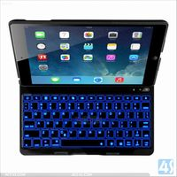 2014 Aluminum Alloy Bluetooth Keyboard Leather Case for iPad Air 5 P-IPD5CASE081
