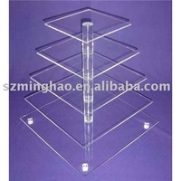 Transparent 5 tiers Acrylic Cake Showcase display stand shenzhen factory