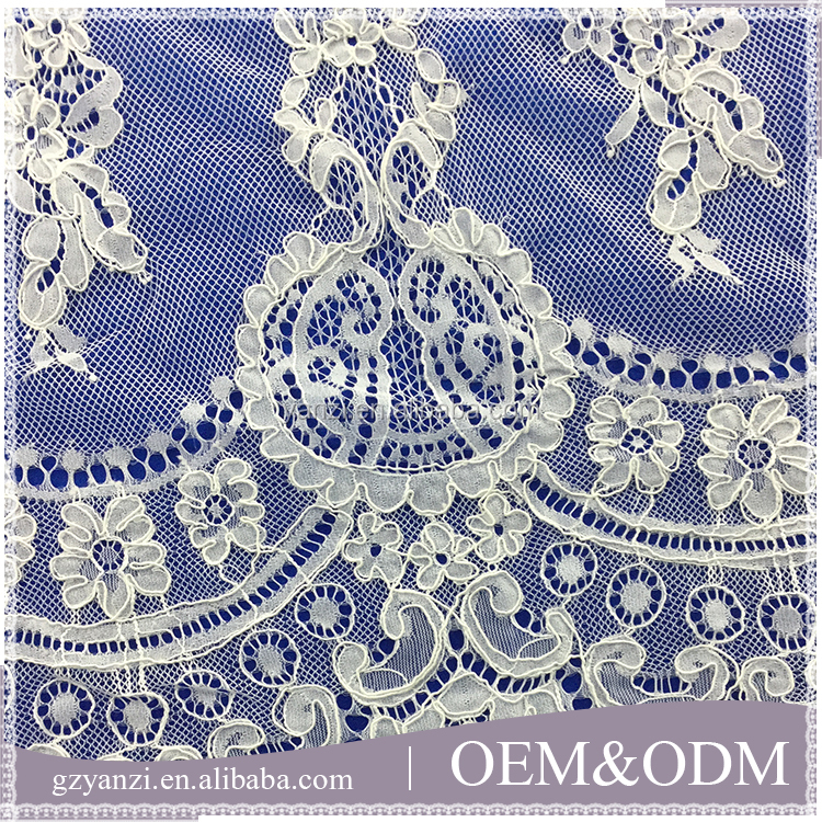Latest fashion design style french corded lace trim for wedding dress garment curtains