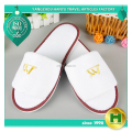 Polyester Velvet Pile Hotel Slippers / Personalized Velour Pile Open Toe Bedroom Slippers / Wholesale Disposable EVA Slippers
