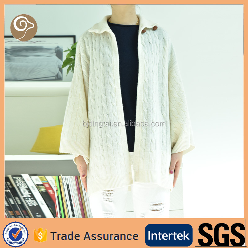 Cable knitted fashion woolen sweater designs for ladies