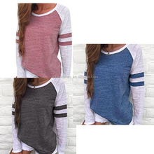 New Arrival Fashion Women Long Sleeve Splice Color Blouse Patchwork Tops