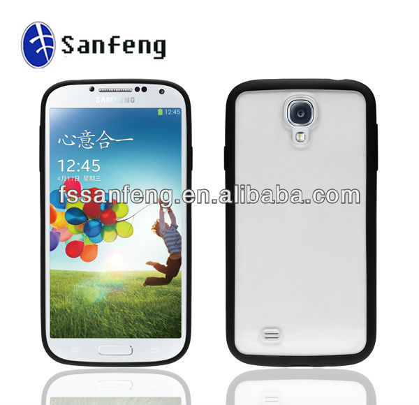 Slim Side Frame Case For Samsung Galaxy S4/Hot For Samsung S4 Tpu Frame/Tpu Back Pc Bumper Case For Samsung S4