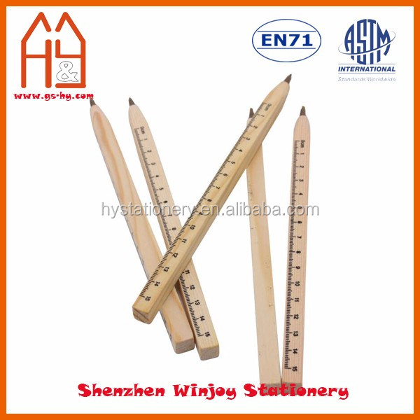 Eco-friendly Natural Wooden Ruler Multifunction Ballpoint Pen With Logo Printing