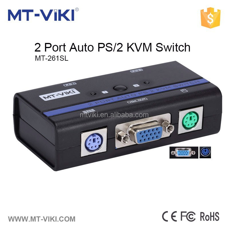Factory supply 2 port plastic VGA Video PS2 KVM Switch Switcher Box Selector with cable 2 in 1 out PC Monitor Share MT-261SL