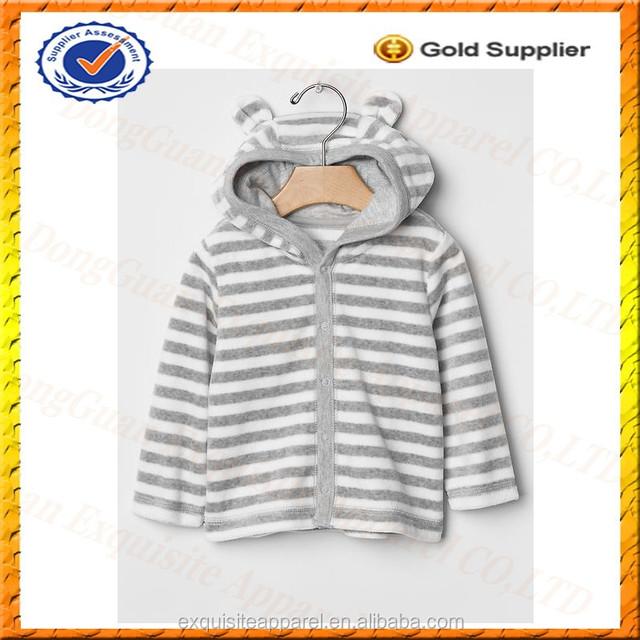 Custom 100% Cotton Kids Hoodie with Ears/Velour Stripe Bear Hoodies for Winter