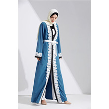 Excellent blue dubai front open abaya with belt fashion arabic long sleeve muslim jubah turkish kaftan baju for lady 2w-13